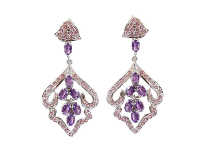 Rhodium Plated Gemstone Long Dangle Earring