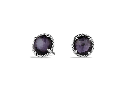 Rhodium Plated Twisted Wire Amethyst Stud Earring