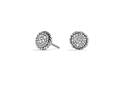 Rhodium Plated CZ Studded Twisted Stud Earring