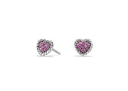 Rhodium Plated Pink CZ Heart Shape Twisted Stud Earring