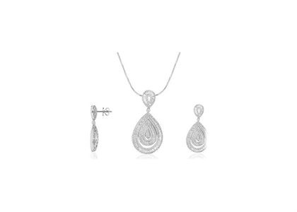 Rhodium Plated | CZ Studded Pendant Sets