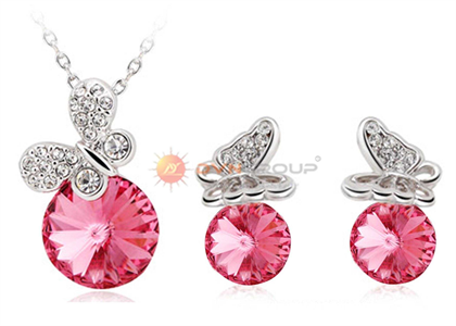 Rhodium Plated | Gemstone Pendant Sets