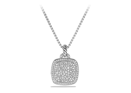 Rhodium Plated CZ Studded Cushion Shaped Pendant