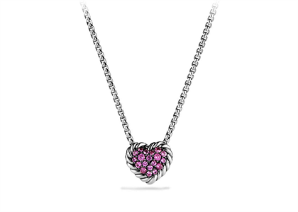 Rhodium Plated Pink CZ Studded Twisted Heart Pendant