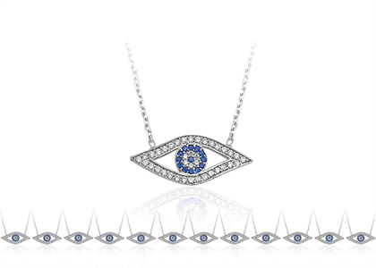 Gold Plated Evil Eye Pendant with CZ Studded
