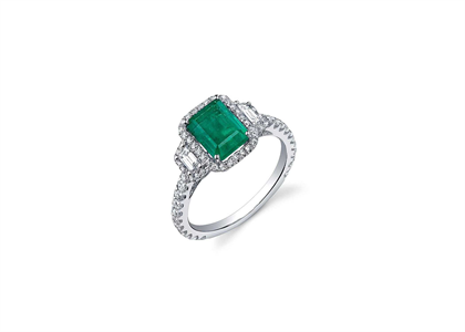 Rhodium Plated Ring with Emerald Green Gemstone