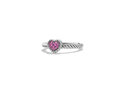 Rhodium Plated Pink CZ Ladies Heart Shape Twisted Ring