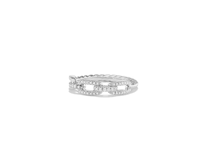 Rhodium Plated CZ Studded Ladies Twisted Ring