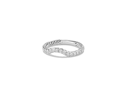Rhodium Plated CZ Studded Twisted Womens Ring