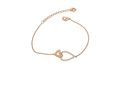 Rose Gold Plated CZ Studded Heart Bracelet