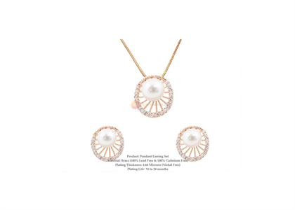 Rose Gold Plated | Pearl Pendant Sets