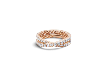 Rose Gold Plated CZ Studded Ladies Twisted Ring