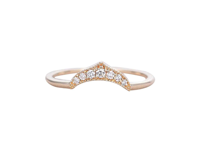 Dainty CZ Studded Curve Ring with Rose Gold Plated