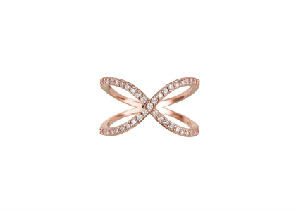Rose Gold Plated CZ Studded X Shaped Ring