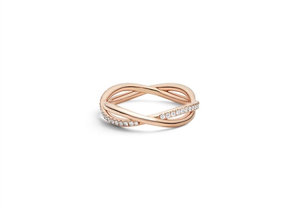 Rose Gold Plated CZ Studded Overlap Womens Ring