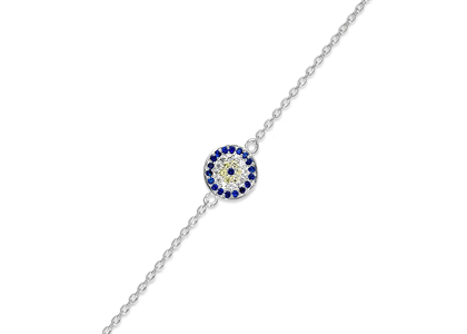 Silver Plated Blue and CZ Studded Womens Bracelet
