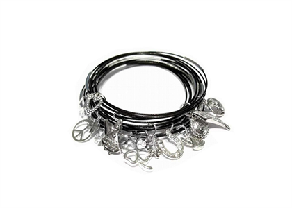 Silver Plated Womens 7 Days Charm Bracelet