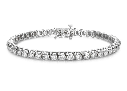 Silver Plated CZ Studded Womens Tennis Bracelet