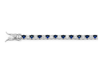Silver Plated Tennis Bracelet with Blue CZ Studded