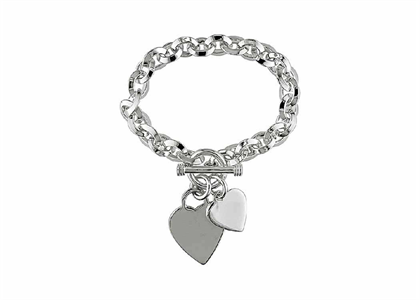 Silver Plated Womens Toggle Heart Charm Bracelet