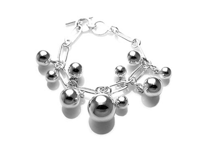 Silver Plated Womens Pearl Charm Chain Bracelet