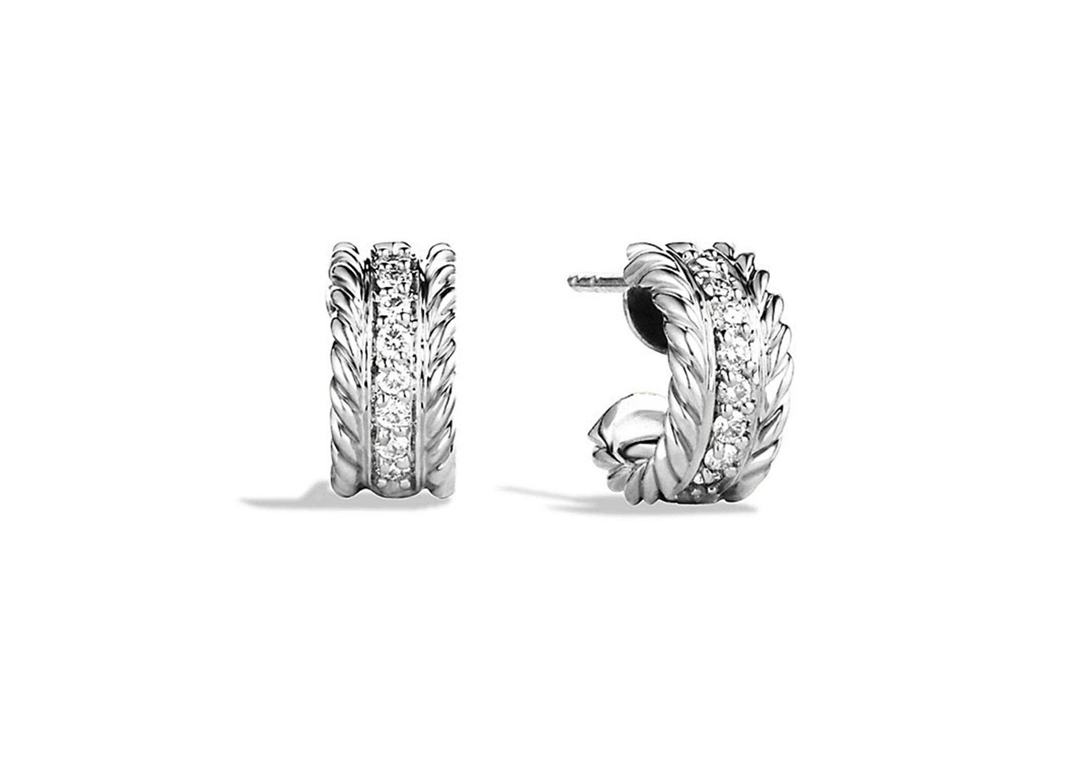 Silver Plated CZ Studded Twisted Wire Stud Earring