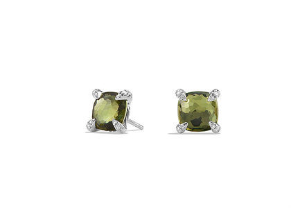 Silver Plated CZ Studded Square Olivine Stud Earring
