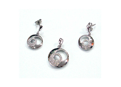 Silver Plated | CZ Studded Pendant Sets