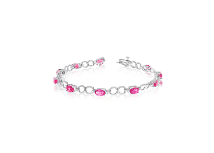 White Gold Plated CZ Studded and Ruby Tennis Bracelet