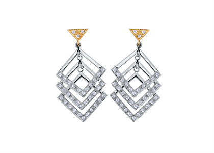 White Gold Plated | Chandelier Earrings