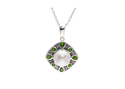 White Gold Plated | Gemstone Pendants