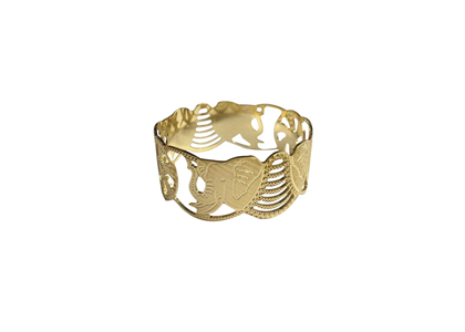 Gold Plated CNC Elephant Bangle
