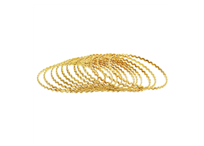 Gold Plated Zig Zag Sugar Texture Punched Bangles