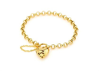 Gold Plated Toggle Heart Charm Bracelet