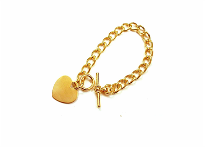 Gold Plated Mens Toggle Heart Charm Bracelet