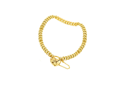 Gold Plated Womens Heart Curb Bracelet