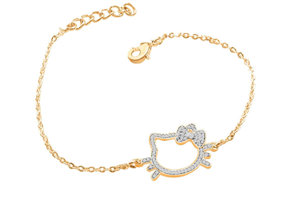 Gold Plated CZ Studded Girls Kitty Bracelet