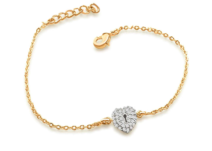 Gold Plated CZ Studded Lock Heart Bracelet