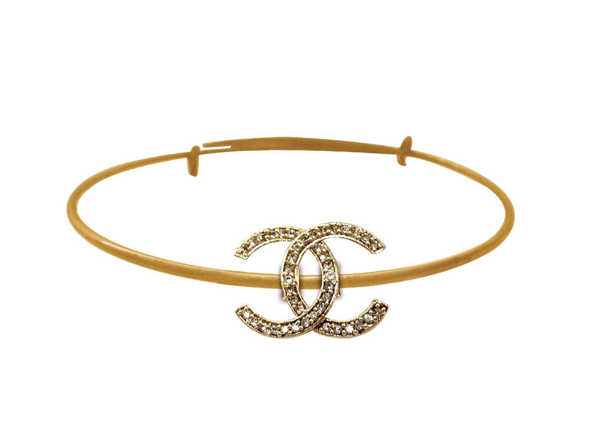 5b8509201d4b Gold Plated CZ Studded Chanel Bracelet