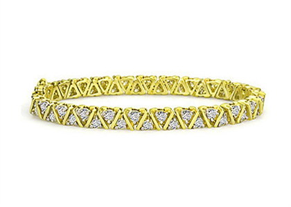 Gold Plated CZ Studded Tennis Bracelet