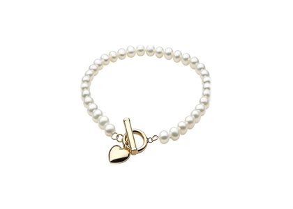 Gold Plated Womens Pearl Toggle Heart Charm Bracelet