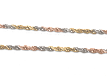 Three Tone Plated Rope Chain