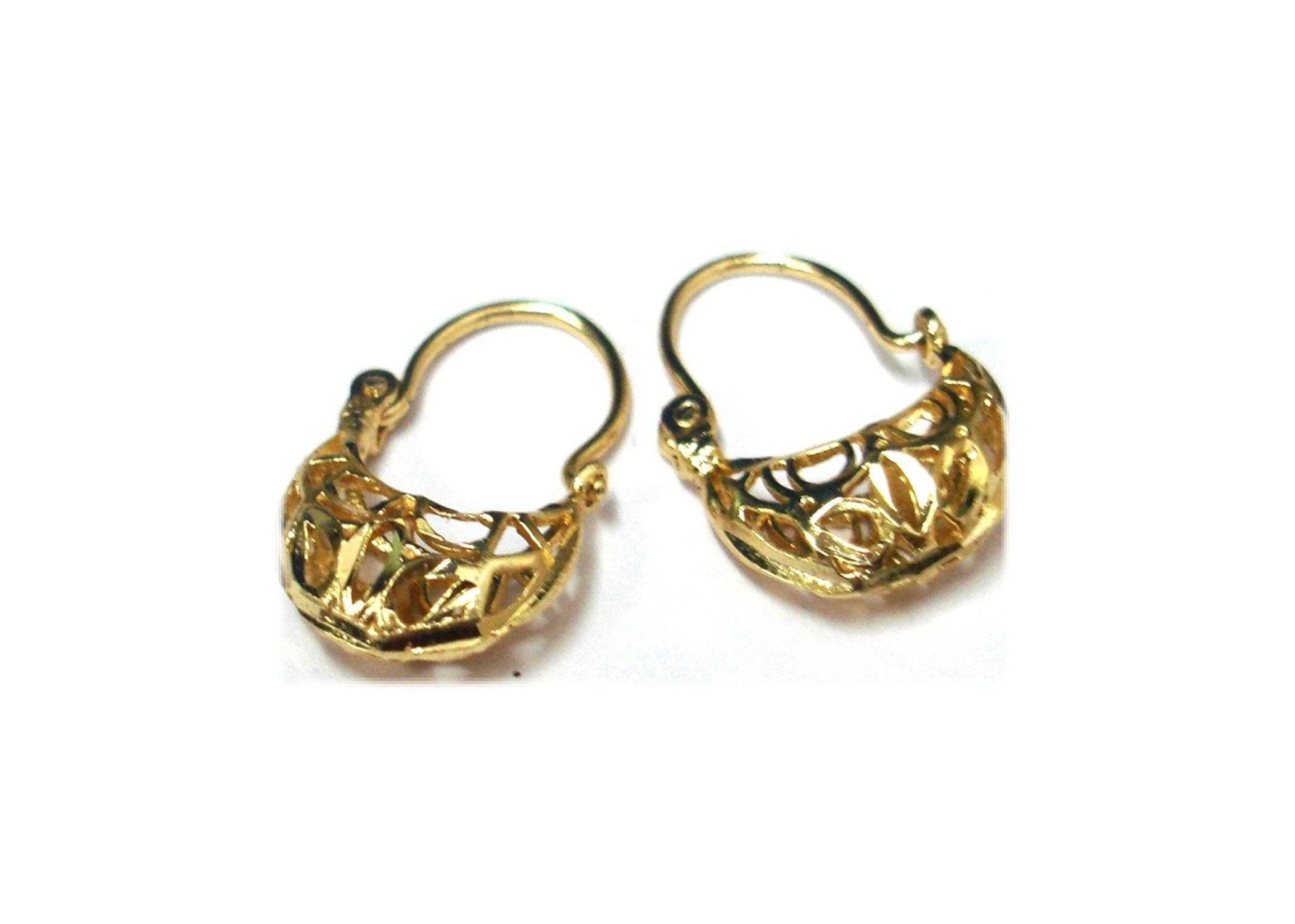 Gold Plated Basket Hoop Earrings