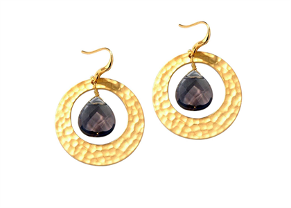 Gold Plated Gemstone Texture Dangle Earring