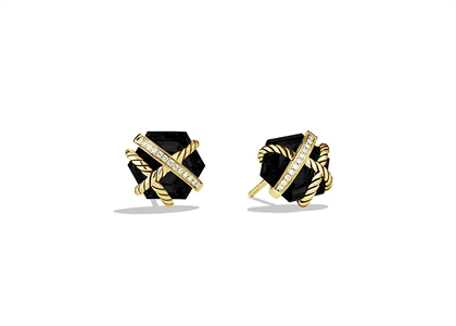 Gold Plated Black Stone Twisted Wire CZ Studded Earring