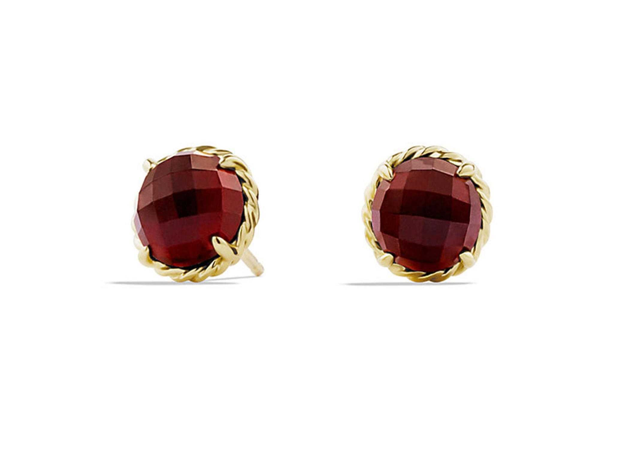 Gold Plated Twisted Wire Ruby Stud Earring