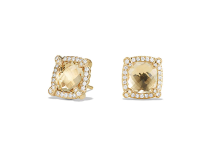Gold Plated CZ Studded Champagne Square Stud Earring
