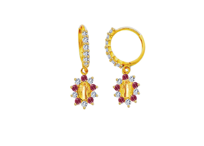 Gold Plated Red CZ Saint Jude Earring