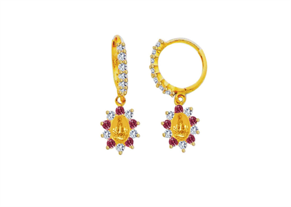 Gold Plated Red CZ Virgin DE Cobra Earring