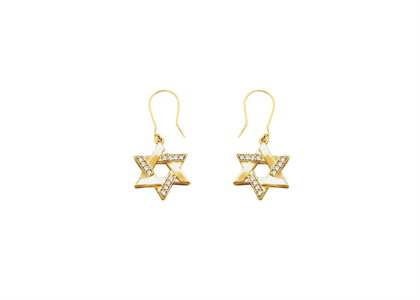 Gold Plated CZ Magen David Earring